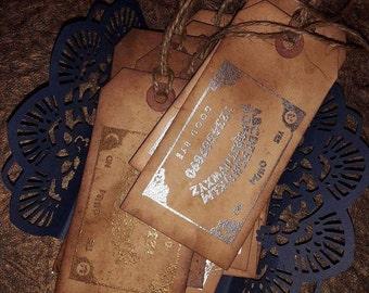 Grunge Ouija Embossed Hand Made Tags Set of 12