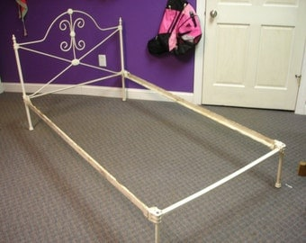 Antique Cast Iron Bed Frame Ornate Headboard Taper Pin Bed Rails Victorian Wrought Iron Headboard 39 1/2 X 42 1/2, Frame 76 X 42 1/2