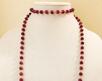 SALE 50% OFF Purple Bead Chain Double Wrap