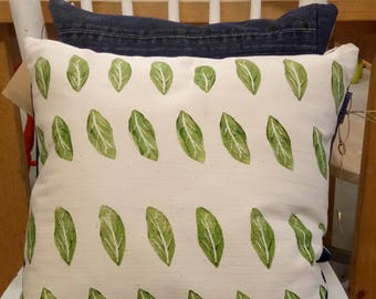 Pillow with botanical image, made by hand and handgeprint, upcycle design