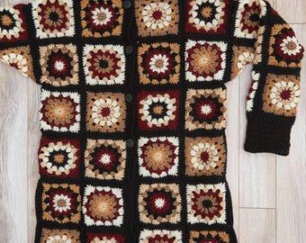 Granny squares cardigan/crochet jacket/crochet coat/freeform cardigan/hippie festival boho sweater/handmade cardigan/crochet women jacket