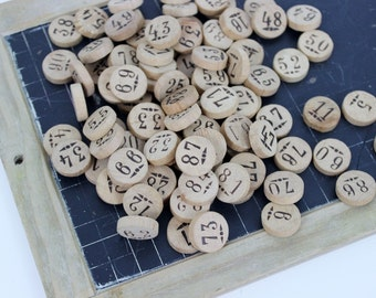 Vintage French Loto Game 90 Wooden numbers, Loto number, Vintage Loto Numbers, French Loto Numbers, Wooden Lotto Numbers, E119
