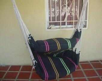 Hammock chair wood cotton Macrame Full Black