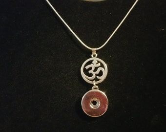Om Symbol Snap Charm Pendant Necklace