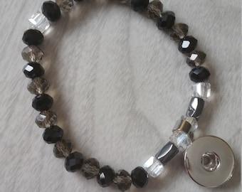 Smokey, black and clear Crystal snap charm bracelet