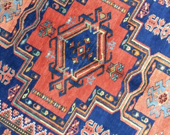 Antique Kazak rug 8.3 × 4.7 ft 252 × 142 cm