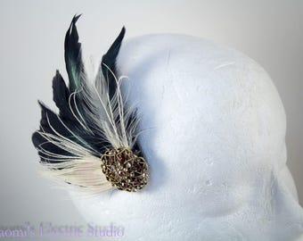 Feather Fascinator, Feather hair clip, hair clip, Vintage clip, bride, wedding, bridal, prom