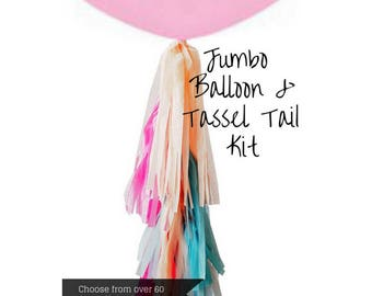 Design your own Jumbo Balloon 90cm with Tassel Tail Fringe - Giant Latex Balloon - Wedding Shower Photoshoot Decoration