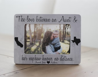 Long Distance Aunt Nephew Niece States Frame Personalized GIFT Aunt Auntie Long Distance