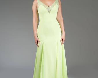 Chiffon evening gown with beaded neckline