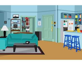 Seinfeld's Apartment - Illustrated Digital Art Print