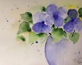 """Watercolor """"Bouquet"""" flowers, nature, 17 x 24 cm, unique, Watercolour Painting"""