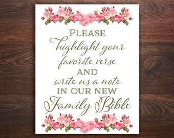 Sign our bible sign Highlight your favorite verse Wedding bible verse Highlight scripture guestbook Bible guest book Wedding reception decor