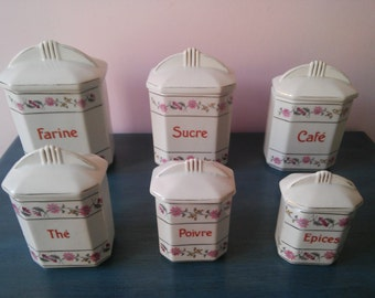 French Kitchen Storage canisters  1940s- Complete set with lids