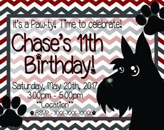 Scottie Terrier Kids Birthday Invitation