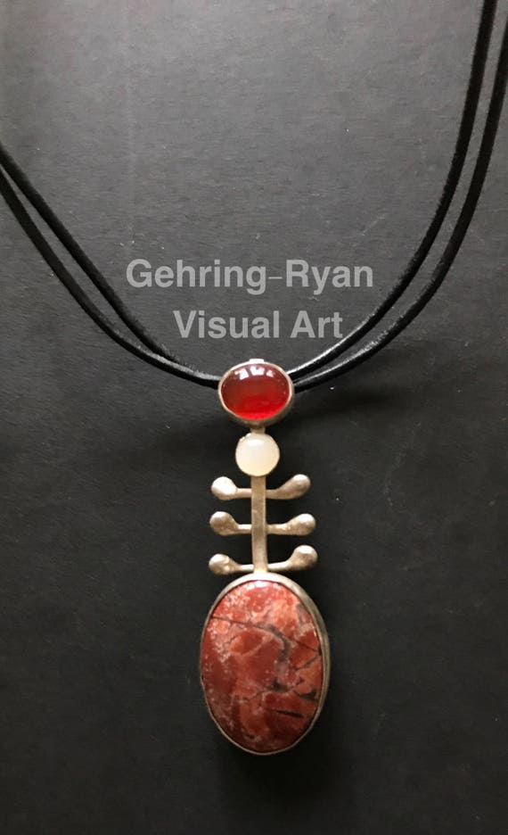 Signature Sterling, Jasper, Carnelian and Moonstone Pendant