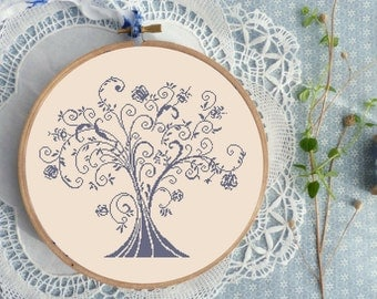 Hand Embroidery Pattern TREE Cross Stitch counted modern cross stitch pattern embroidery pdf hand embroidery pattern modern embroidery