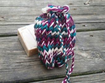 Soap saver, soap scrubby, knit soap saver, soap pouch, soap sack, soap saver bag, knit soap pouch, knit soap bag, bathroom items, bath