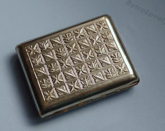 Soviet Cigarette Case. Metal cigarette case USSR. tobacco box. card holder