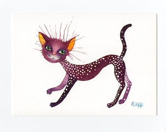 Postcard cat violet, fine art postcards, watercolour