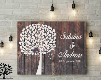 70 x 50 vintage wedding gift, guestbook, wedding tree. Memory and decoration, engagement, anniversary,