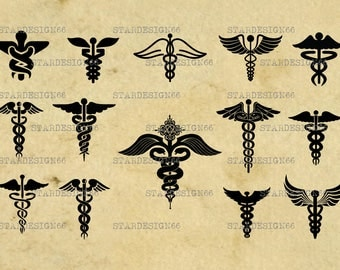 Digital SVG PNG JPG Caduceus, vector, clipart, silhouette, instant download