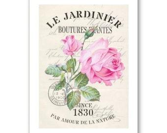 Personalised Handmade Greetings Card ~ Vintage Postcard of Le Jardinier # 9