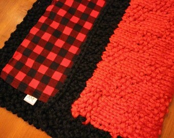 Knitted blanket lined flannel