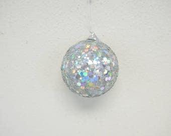 Handmade Ball Ornament with Iridescent Sequins