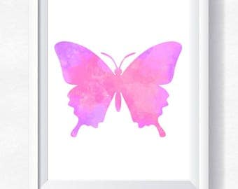 70%OFF Butterfly print, pink butterfly wall art, butterfly watercolor, wall art, nursery printable, instant download, butterfly poster