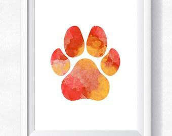 70%OFF Dog paw print cat paw animal paw pawprint printable paw print poster dog wall art paw wall art watercolor pawprint digital paw print