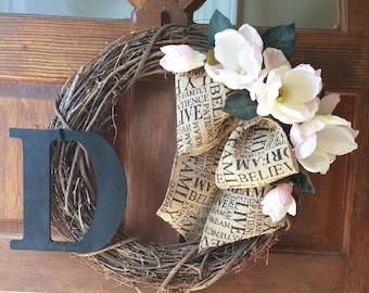 Magnolia Monogram Grapevine Wreath