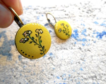 Earrings sleepers - floral motif handpainted - unique piece