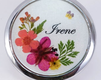 Personalized, Real Pressed Flower Compact Mirror, Mother's Day gift, Bridesmaid gift, Teacher's gift, Wedding gift