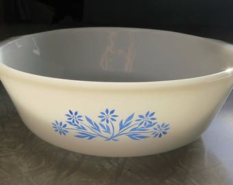 Anchor Hocking Fire-King 1 Quart Bowl #436 with Blue Cornflowers, Iconic USA Vintage Cookware!