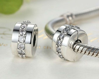 Authentic Sterling Silver Shining Path, Clear CZ Charms  Fits European & Pandora Charm Bracelet