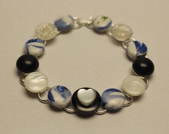 Sky Blue Vintage Button Bracelet