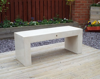 Concrete Bench Furniture White // Light Weight GFRC // 2 Seater Indoor or Outdoor with 110 million year old ammonite fossil