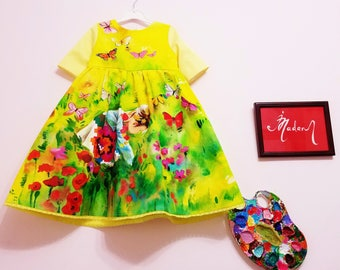 "Hand Painted ""Four Seasons"" Baby Dresses, Girls Dresses, Kids Dresses / 100% Handmade Dresses by Irina MADAN"