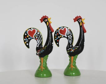 Portuguese Rooster, mini, Galo de Barcelos, Traditional pattern, totally handpainted, Good Luck Rooster, gift.