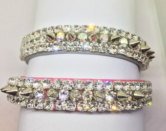 "Cutie Pie Pet Collars ®  ~Pink Or Silver Diamond Spikes~ Wide 3/4""~  Crystal Diamante Rhinestone Pet Dog PU Leather Collar + Free ID Tag USA"