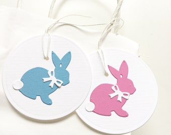 Gender Reveal Party Favors, Pregnancy Reveal, Baby Reveal , Baby Shower Favor, Blue and Pink Bunny Favor Tags, Rabbit Gift Tags, Thank You