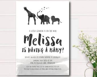 Black and White Baby Shower Printable Invitation Simple Baby Shower Printable Invite Black & White Animals Baby Shower Invite Gender neutral