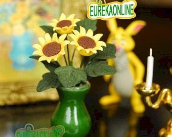 Miniature dolls house sunflower with vase