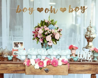 Boy baby shower decorations, boy oh boy banner, oh boy banner, baby boy shower, gold and blue baby shower, baby shower for boys, gold banner