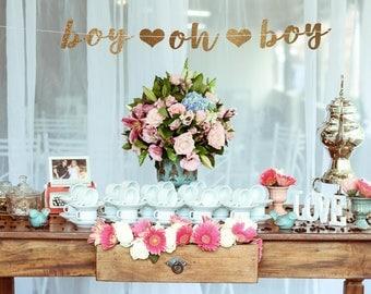 Boy Baby Shower Decorations, Boy Oh Boy Banner, Oh Boy Banner, Baby Boy