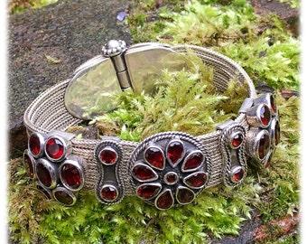 Vintage Garnet Sterling Silver Cuff Bangle Bracelet