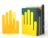 Vintage Metal Yellow Hand Bookends Made in Cleveland OH, USA by Spectrum Div. Designs