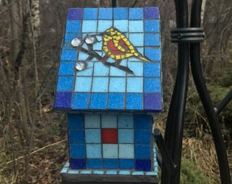 Stained Glass Mosaic Birdhouse