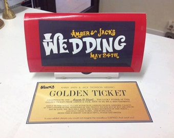 Wonka bar themed wedding invitation wedding stationery